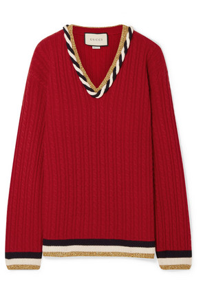 Gucci - Lurex-trimmed Cable-knit Wool And Cashmere-blend Sweater - Red