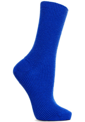 Maria La Rosa - Ribbed Cashmere Socks - Royal blue