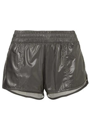 adidas by Stella McCartney - Run 2-in-1 Mesh-trimmed Glossed-shell Shorts - Gray