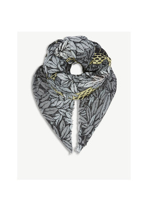 Face-print modal and cashmere scarf