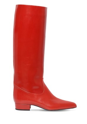 20MM POLISHED LEATHER TALL BOOTS