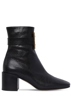 65MM 4G BUCKLE LEATHER ANKLE BOOTS