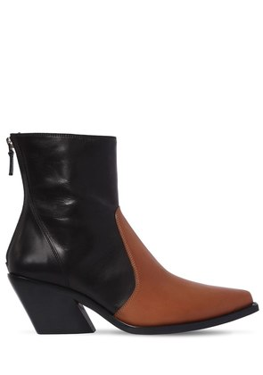70MM TWO TONE LEATHER COWBOY BOOTS
