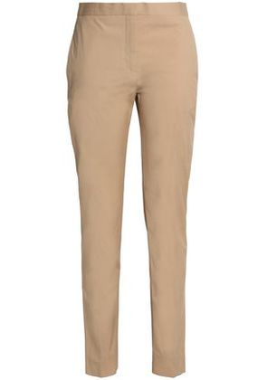 Valentino Woman Stretch-cotton Tapered Pants Beige Size 8