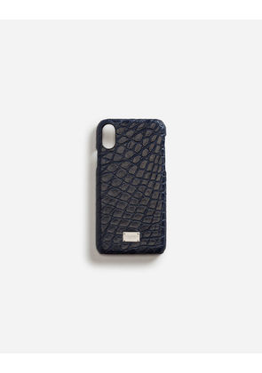 Dolce & Gabbana Hi-Tech Accessories - IPHONE X COVER WITH DETAILS IN CROCODILE BLUE