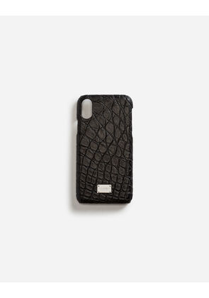 Dolce & Gabbana Hi-Tech Accessories - IPHONE X COVER WITH DETAILS IN CROCODILE BLACK
