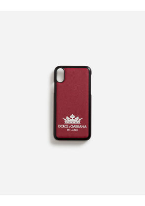 Dolce & Gabbana Hi-Tech Accessories - IPHONE X COVER WITH PRINTED DAUPHINE CALFSKIN DETAIL RED