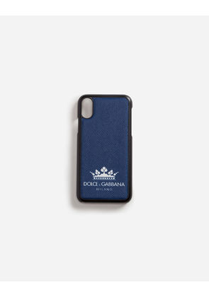 Dolce & Gabbana Hi-Tech Accessories - IPHONE X COVER WITH PRINTED DAUPHINE CALFSKIN DETAIL BLUE