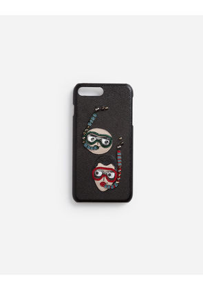 Dolce & Gabbana Hi-Tech Accessories - IPHONE 7/8 PLUS COVER IN DAUPHINE CALFSKIN WITH DIVER-STYLE PATCHES OF THE DESIGNERS BLACK