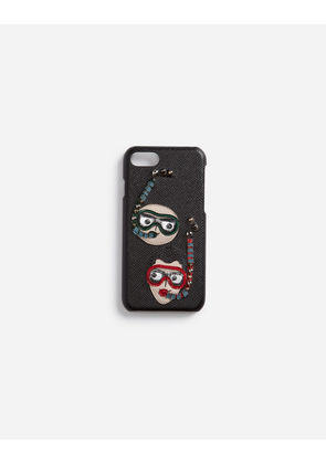 Dolce & Gabbana Hi-Tech Accessories - IPHONE 7/8 COVER IN DAUPHINE CALFSKIN WITH DIVER-STYLE PATCHES OF THE DESIGNERS BLACK