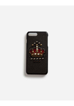 Dolce & Gabbana Hi-Tech Accessories - CALFSKIN IPHONE 7/8 PLUS COVER WITH CROWN PATCH BLACK