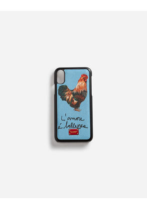 Dolce & Gabbana Hi-Tech Accessories - IPHONE X COVER WITH PRINTED DAUPHINE CALFSKIN DETAIL AZURE