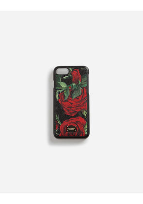 Dolce & Gabbana Hi-Tech Accessories - IPHONE 7/8 COVER IN PRINTED DAUPHINE CALFSKIN DETAIL FLORAL PRINT
