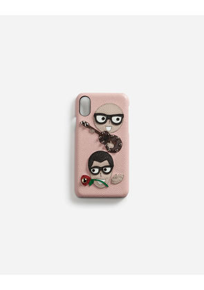 Dolce & Gabbana Hi-Tech Accessories - IPHONE X COVER IN DAUPHINE CALFSKIN WITH DESIGNERS' PATCHES PINK