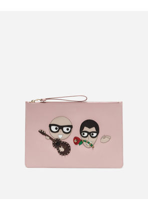 Dolce & Gabbana Mini Bags and Clutches - CLUTCH IN PRINTED DAUPHINE CALFSKIN WITH DESIGNERS' PATCHES PINK