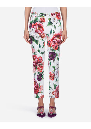 Dolce & Gabbana Trousers and Leggings - PEONY-PRINT CADY PANTS FLORAL PRINT