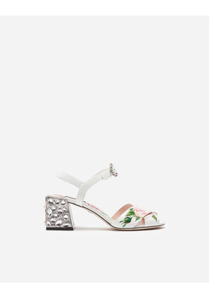 Dolce & Gabbana Sandals and Wedges - PRINTED PATENT LEATHER SANDALS WITH EMBROIDERED HEEL CREAM