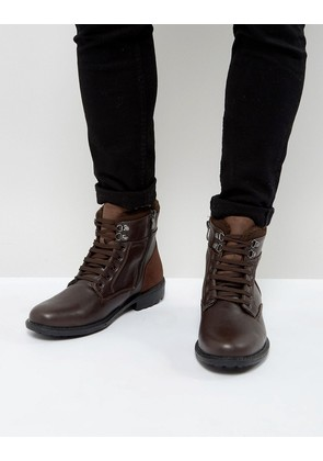 Brave Soul Lace Up Boots In Brown - Brown