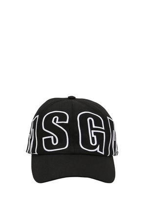 MSGM EMBROIDERED CANVAS BASEBALL HAT