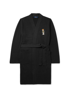 Embroidered Stretch Cotton-blend Jersey Robe