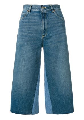 Gucci butterfly patch cropped jeans - Blue