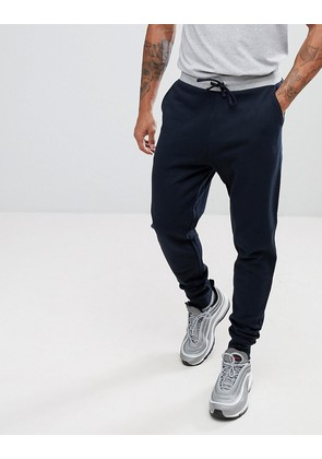 ASOS Tapered Joggers In Navy With Contrast Waistband - Navy/grey marl