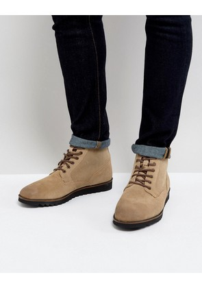 ASOS Lace Up Boots In Stone Suede With Wedge Sole - Stone