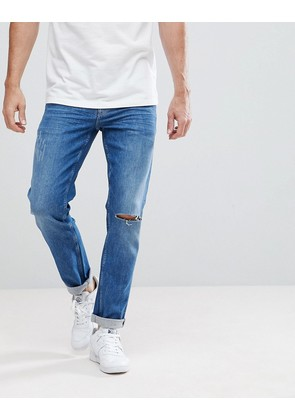 ASOS Stretch Slim Jeans In Mid Wash With Knee Rips - Mid wash blue