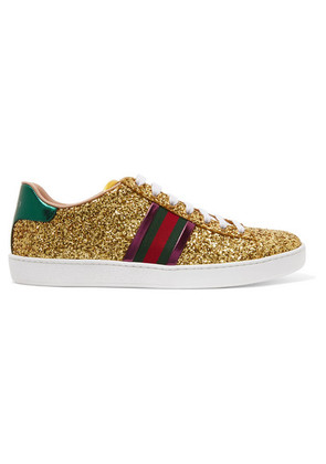 Gucci - Ace Metallic-trimmed Glittered Leather Sneakers - Gold