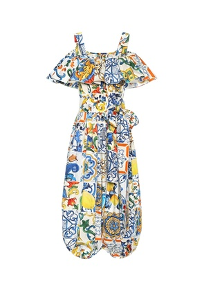 Majolica-print cotton jumpsuit