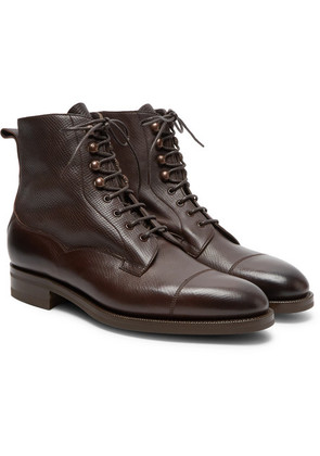 Edward Green - Galway Cap-toe Textured-leather Boots - Brown