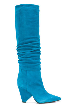Anna F. pointed knee-length boots - Blue
