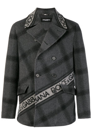 Dolce & Gabbana double-breasted logo coat - Grey