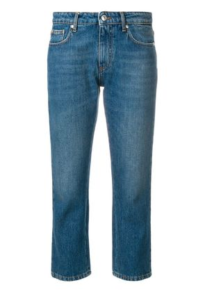 MSGM cropped logo jeans - Blue