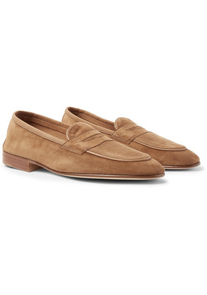 Edward Green - Polperro Nubuck-trimmed Suede Penny Loafers - Brown