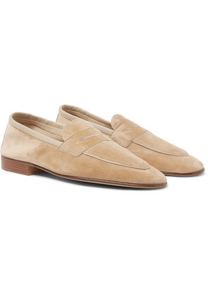 Edward Green - Polperro Leather-trimmed Suede Penny Loafers - Sand