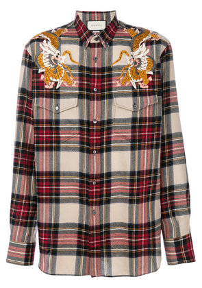 Gucci Dragon check shirt - Red