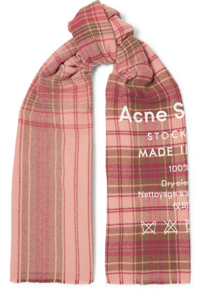 Acne Studios - Cassiar Printed Checked Wool Scarf - Pink