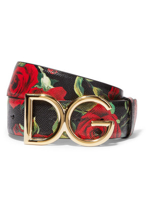 Dolce & Gabbana - Floral-print Textured-leather And Gold-plated Belt - Black
