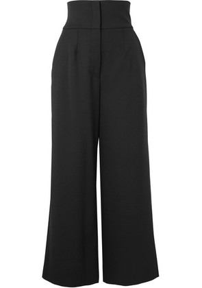 Dolce & Gabbana - Cropped Grain De Poudre Wool-blend Wide-leg Pants - Black