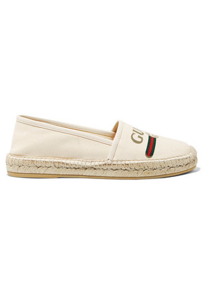Gucci - Pilar Leather-trimmed Logo-print Canvas Espadrilles - Off-white