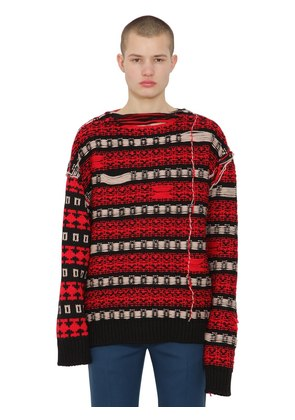 REVERSIBLE JACQUARD WOOL SWEATER