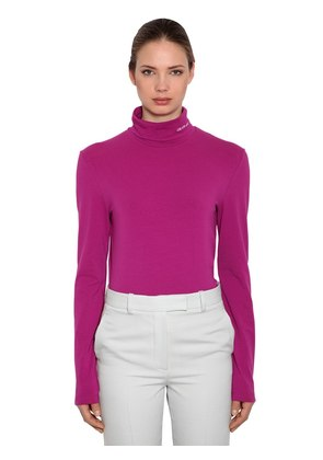 STRETCH COTTON JERSEY TURTLENECK TOP