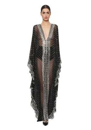 EMBROIDERED SILK CHIFFON CAFTAN GOWN