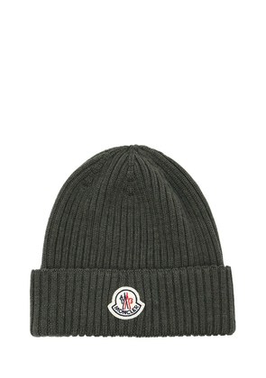 LOGO WOOL RIB KNIT BEANIE HAT