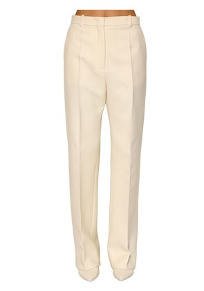 WIDE LEG STRETCH WOOL PANTS