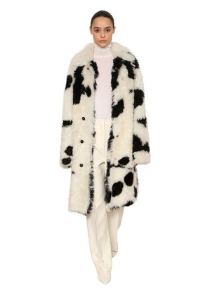PRINTED FAUX FUR COAT