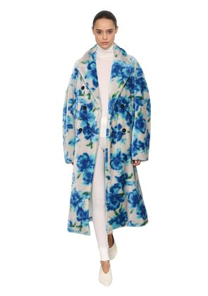 FLORAL PRINTED MOHAIR BLEND PLUSH COAT