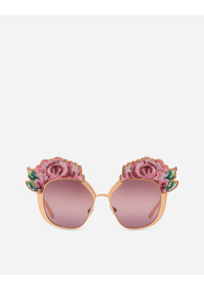 Dolce & Gabbana Sunglasses - SUNGLASSES WITH ROSE EMBROIDERED METAL FRAMES SHINY PINK GOLD WITH SEQUINS