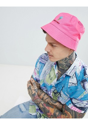 ASOS DESIGN Bucket Hat In Pink With What A Melt Embroidery - Pink